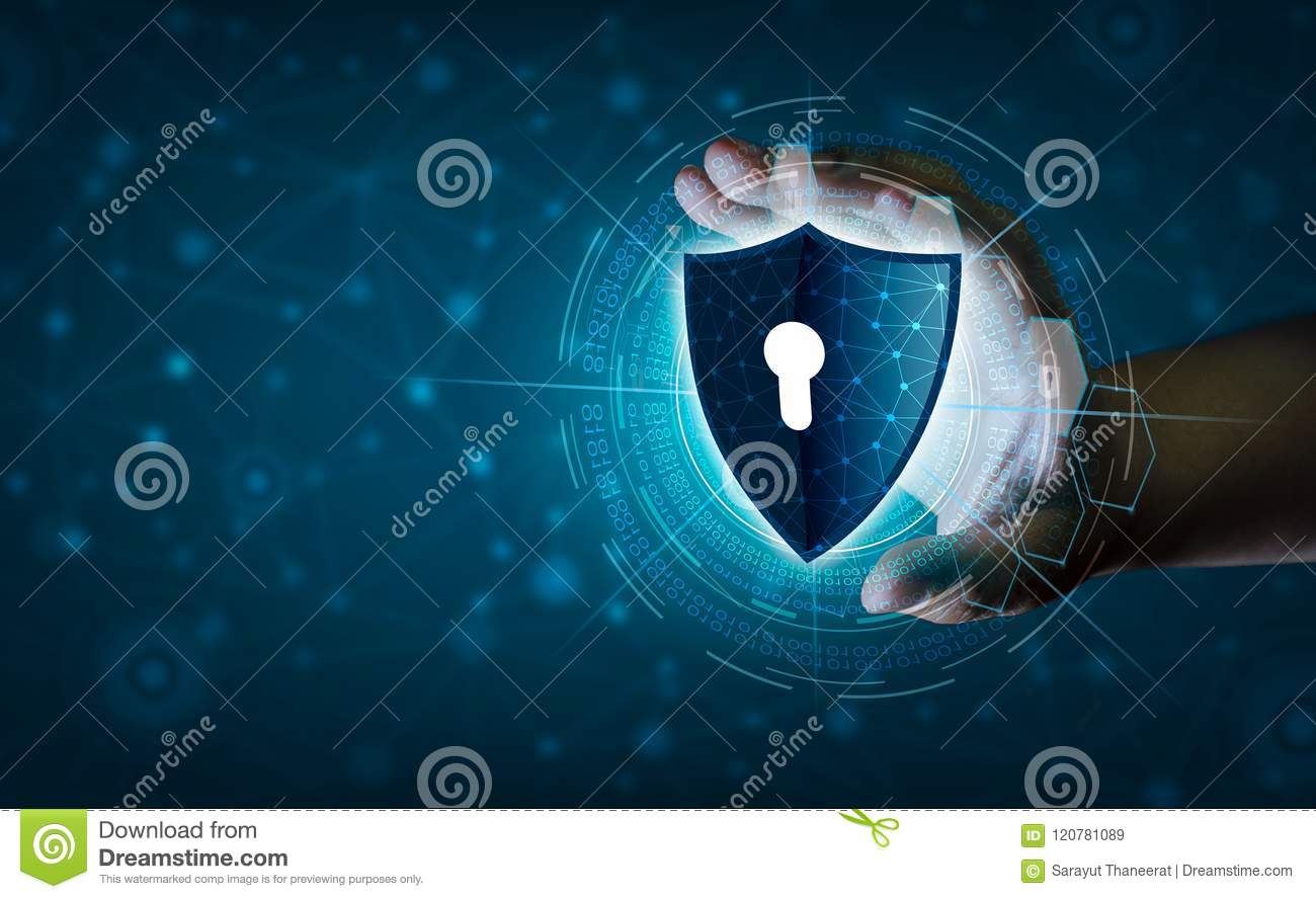 Earth polygon mesh planet World Businessmen shake hands to protect information in cyberspace. Businessman holding shield protect i