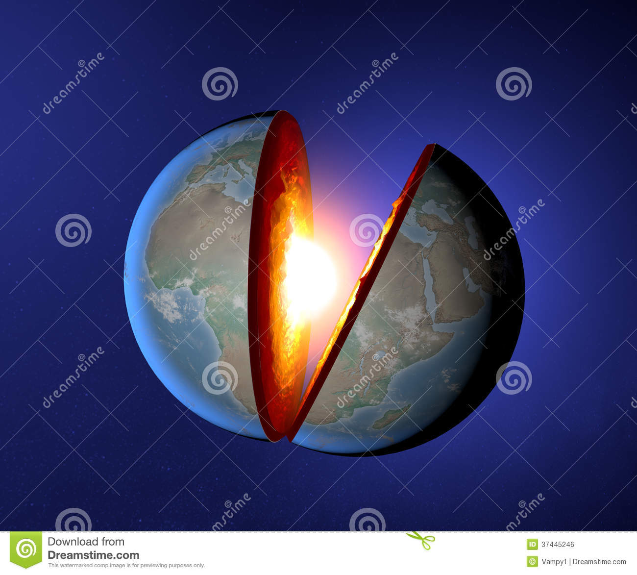Earth S Core Earth World Split Geophysics Royalty Free Stock Image Image 37445246