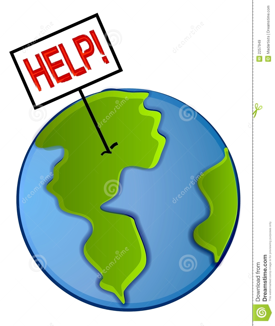 An abstract illustration of the planet earth with a big help sign ...