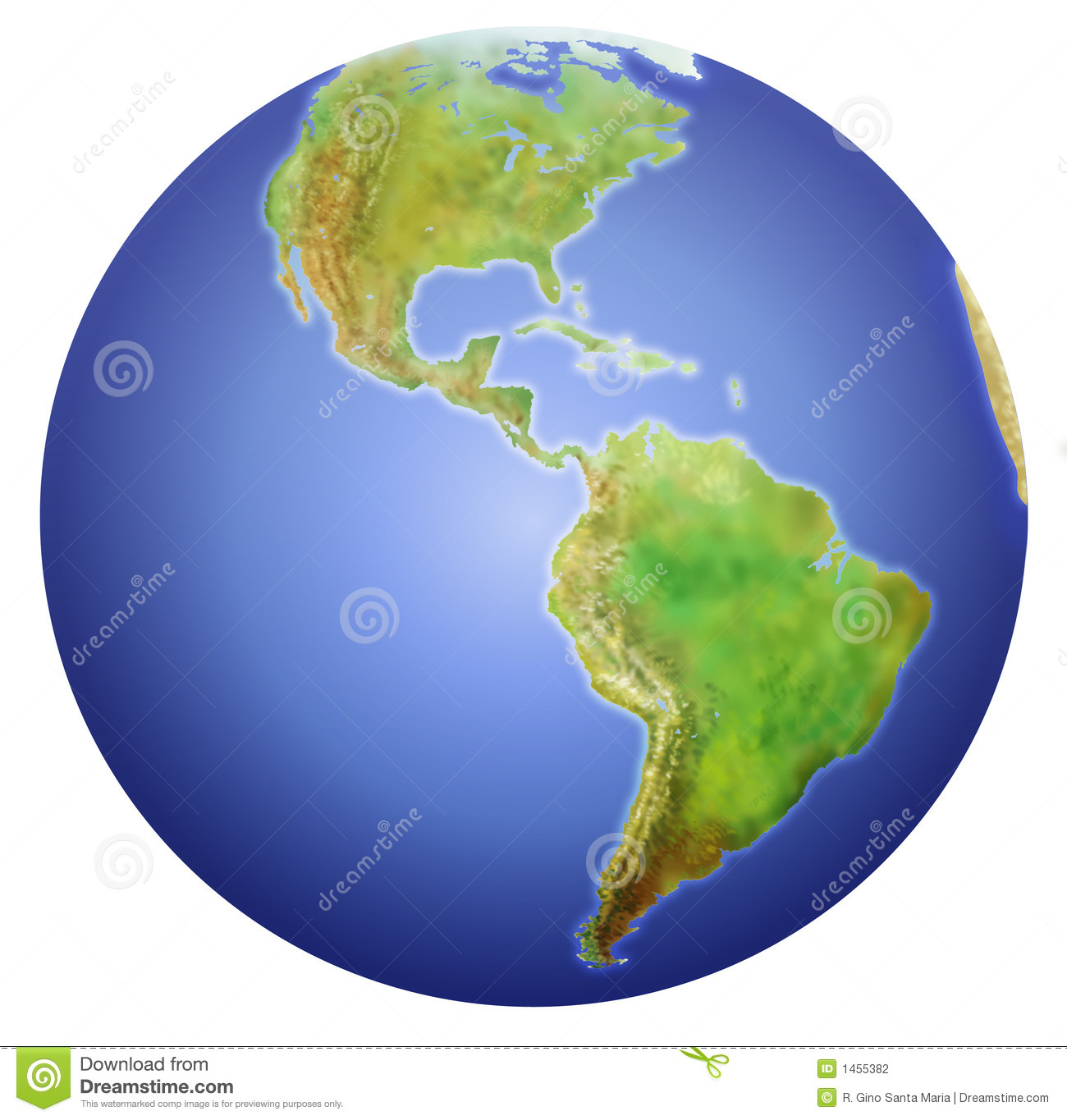 Earth Showing North Central And South America Stock Illustration Image