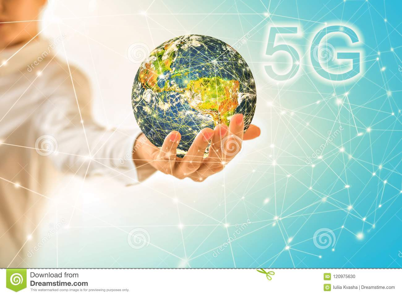 Earth From Space In Hands, Globe In Hands  5G K Internet