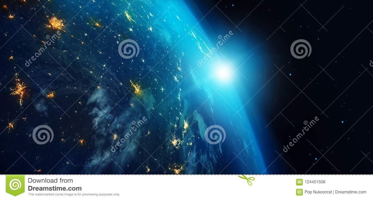 Earth from space at night with city lights and blue sunrise on stars background. 3d rendering. Elements of this image furnished by