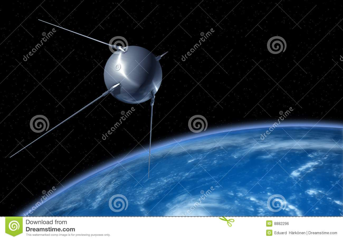 "Download ""Sputnik"" Satellite Orbiting The Earth Stock Illustration - Illustration of exploration, equipment: 8882296"