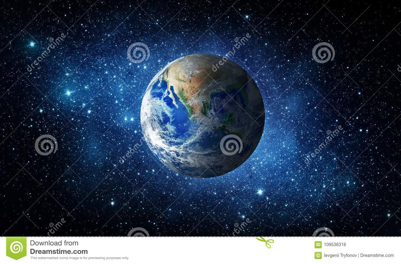 Earth, star and galaxy. Universe background.