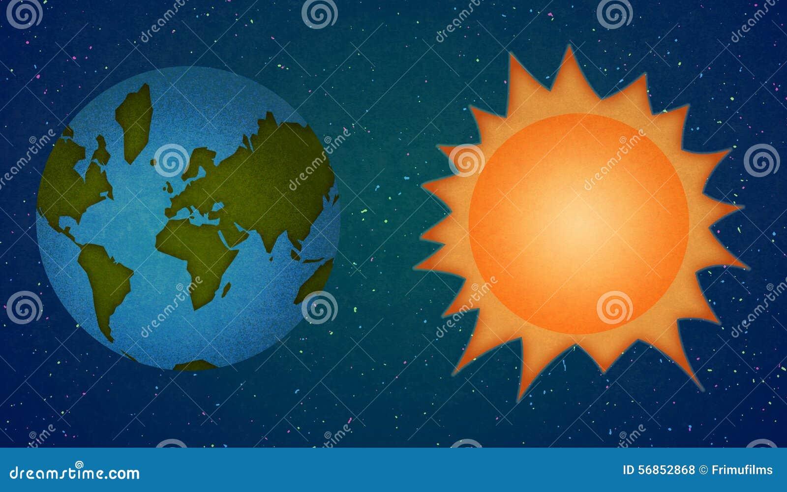 Earth And Sun Planets Cartoon Style Stock Illustration