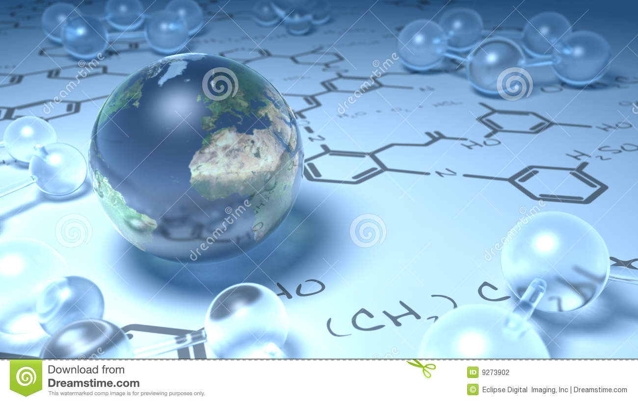 Earth surrounded by glass molecules chemistry stock for Earth elements organics