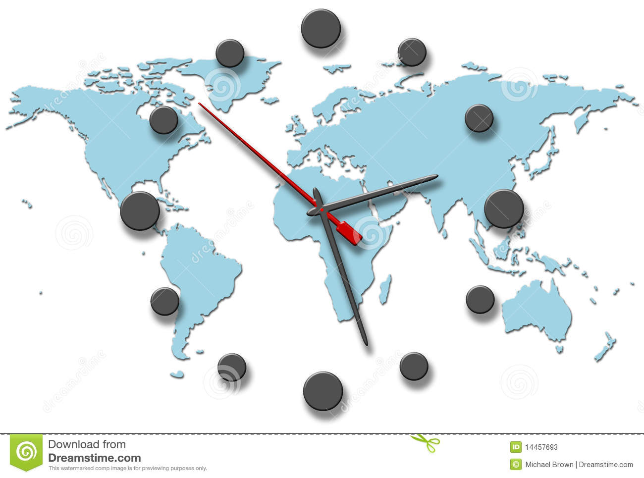 Earth time clock hands on world map stock illustration earth time clock hands on world map gumiabroncs Image collections