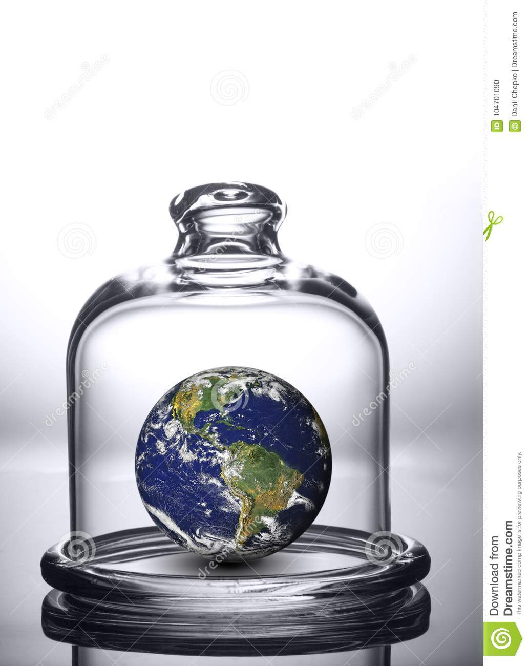 Earth under the dome. Planet under glass bell jar. Elements of t