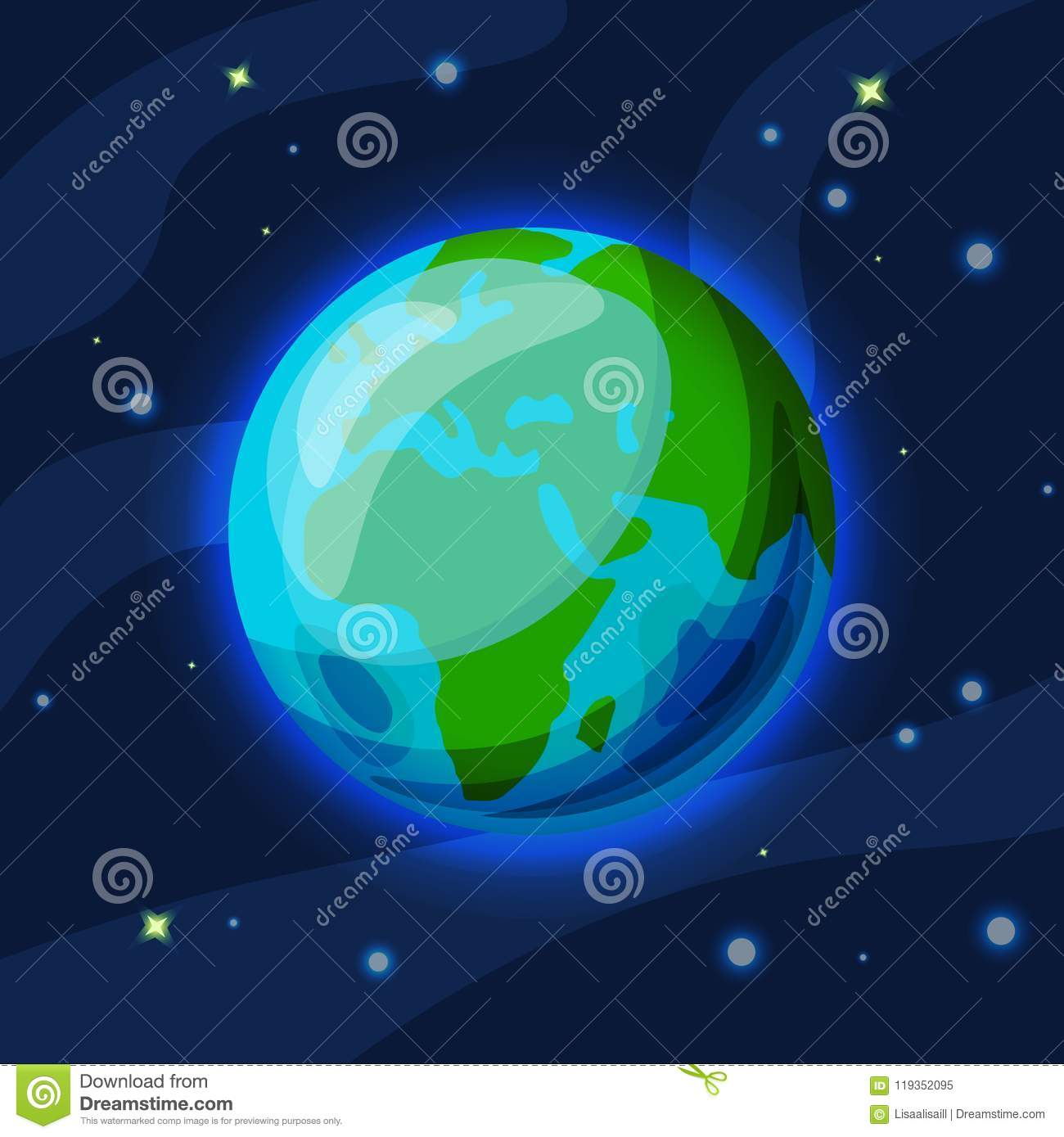 earth vector cartoon and flat illustration green and blue