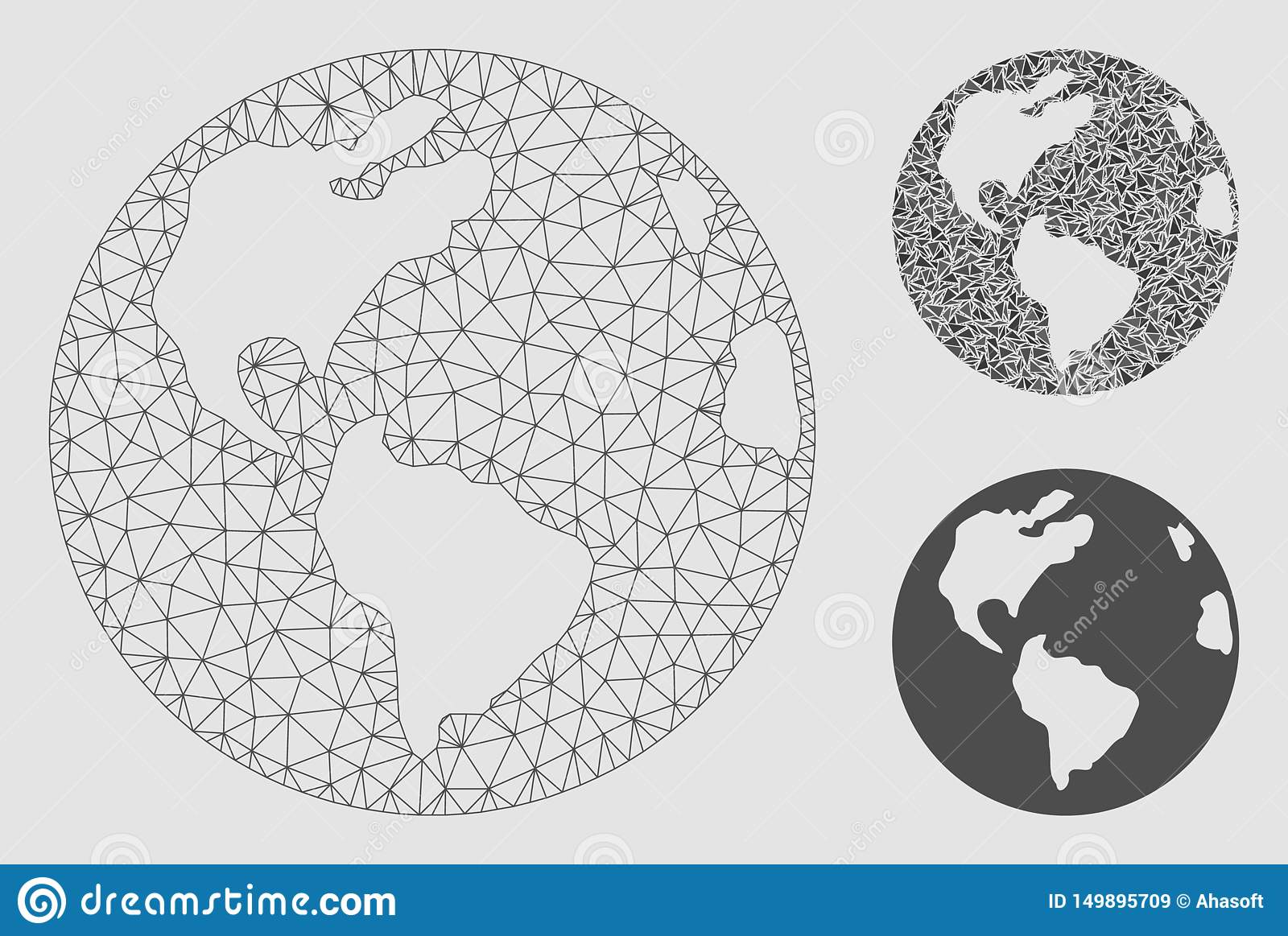 Earth Vector Mesh Carcass Model and Triangle Mosaic Icon