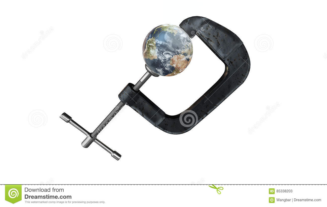 Earth in a vise grip - 3d Illustration isolated on white with matte included - elements of this image furnished by NASA