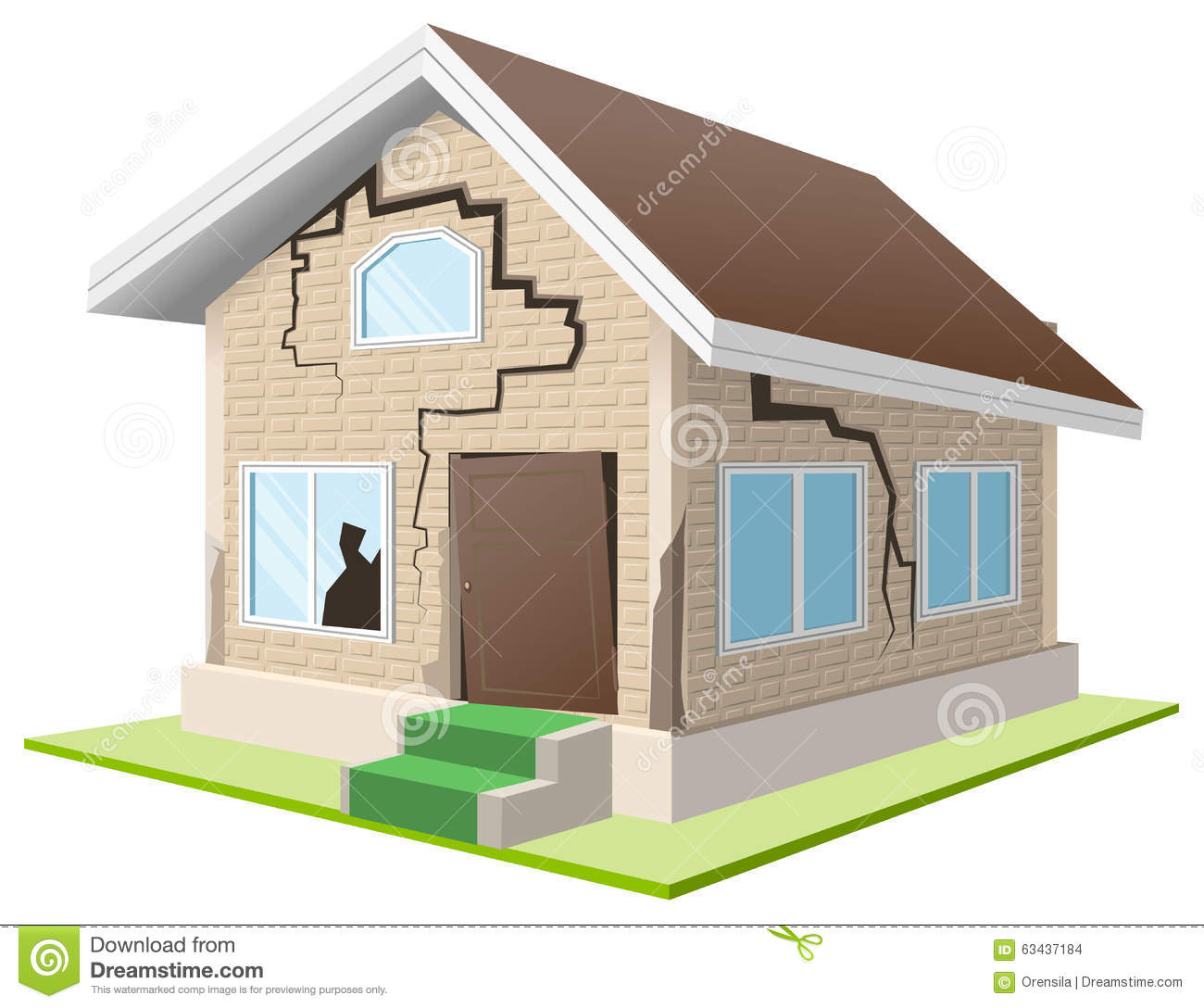 3D Home With Cracked Land Stock Photography