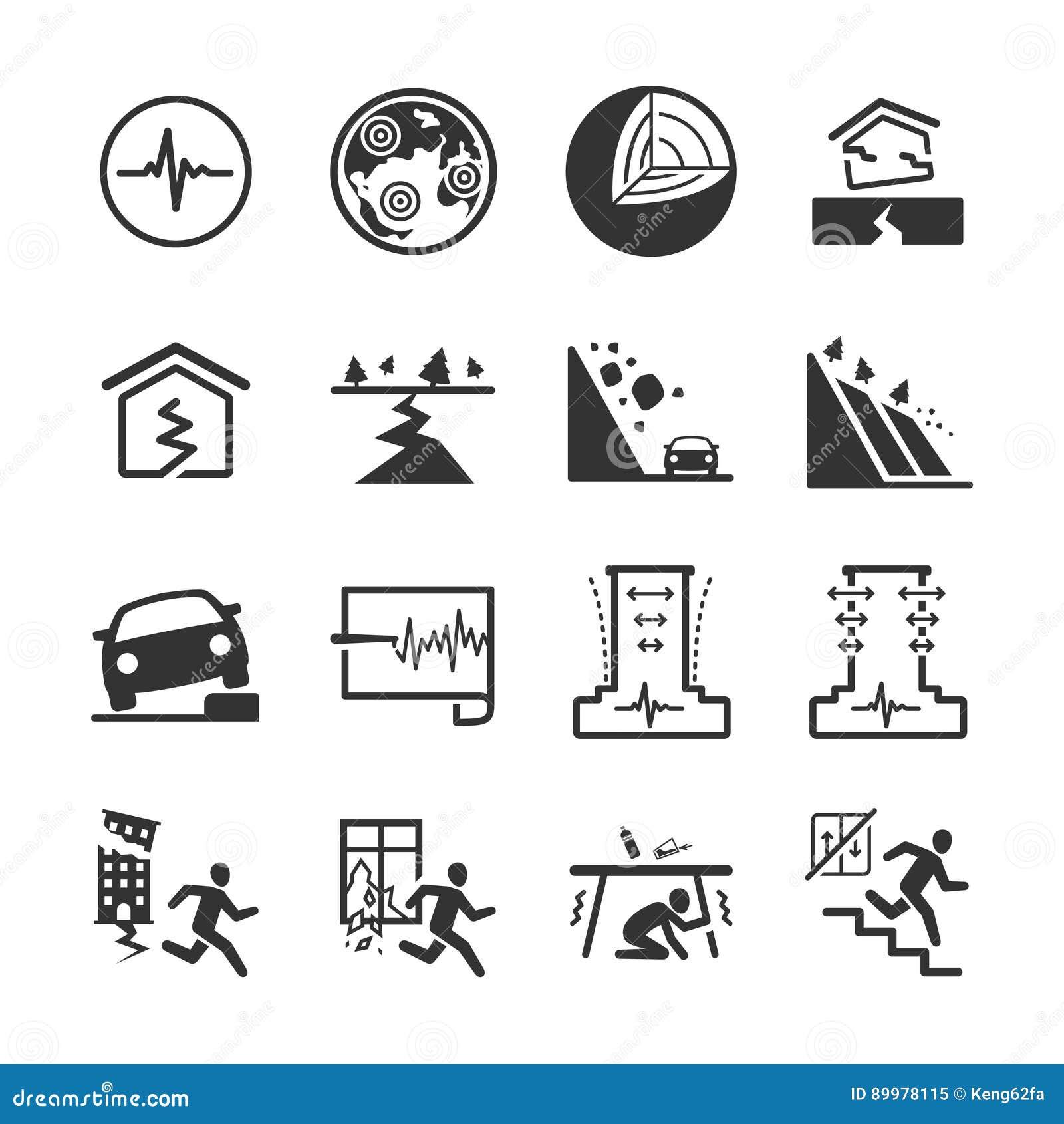 Earthquake and geology icons set 2