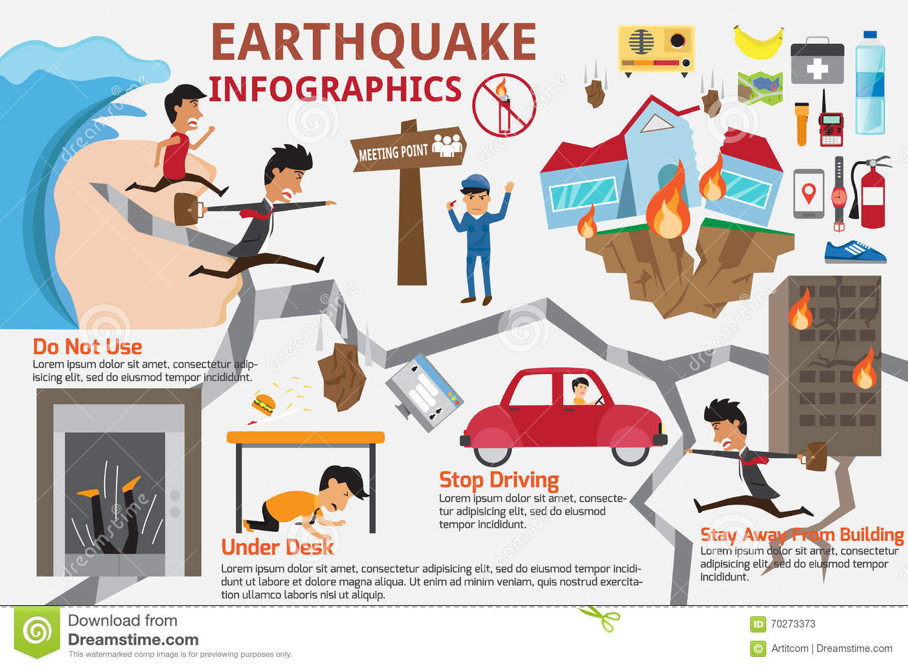 Earthquake Infographics Elements Cartoon Vector