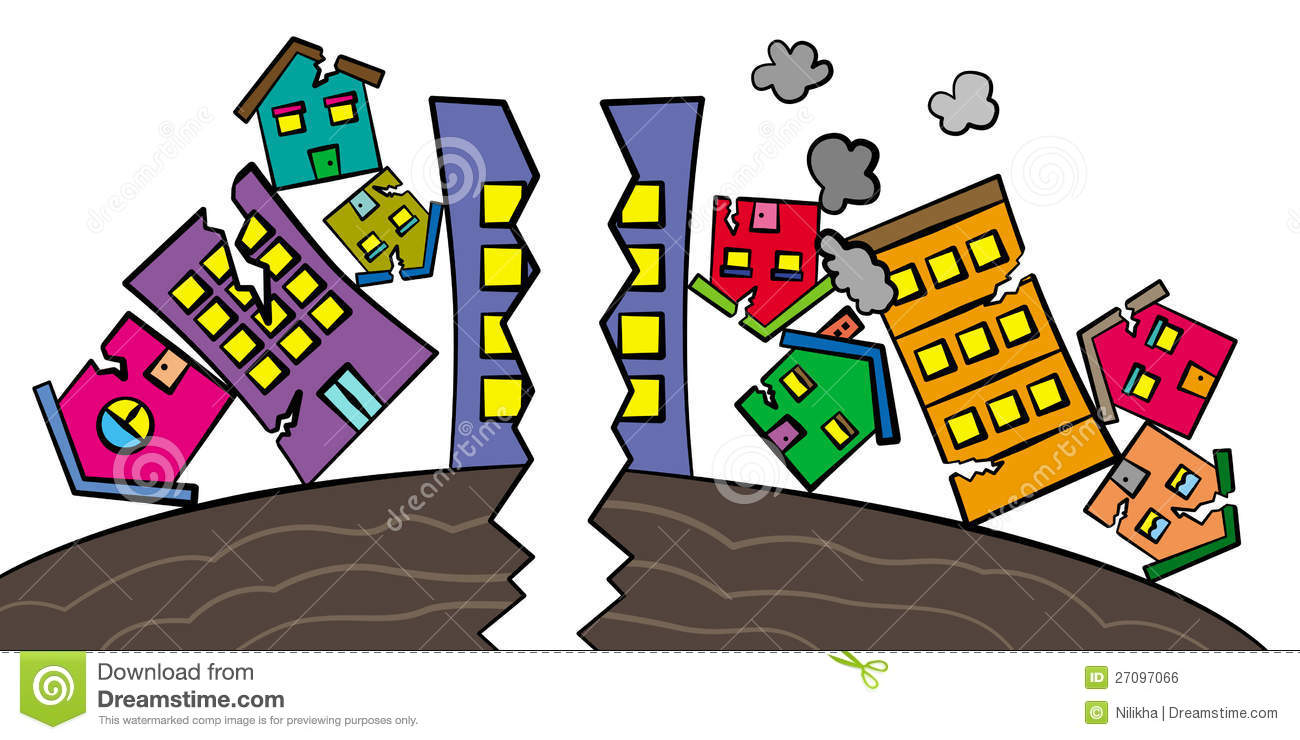 cartoon illustration of a group of cracked  destroyed  and tumbled    Earthquake Safety Cartoon