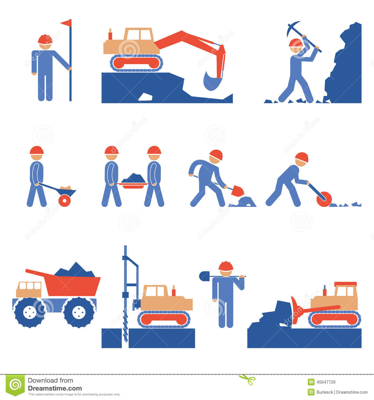 Earthwork Construction Management : Earthwork and road construction icons stock vector image