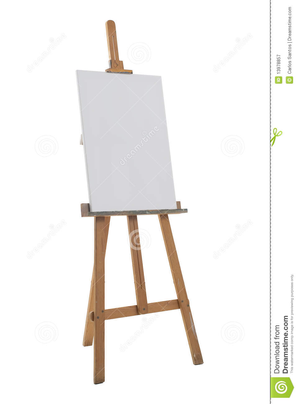 Clean canvas on a easel isolated on a white background.