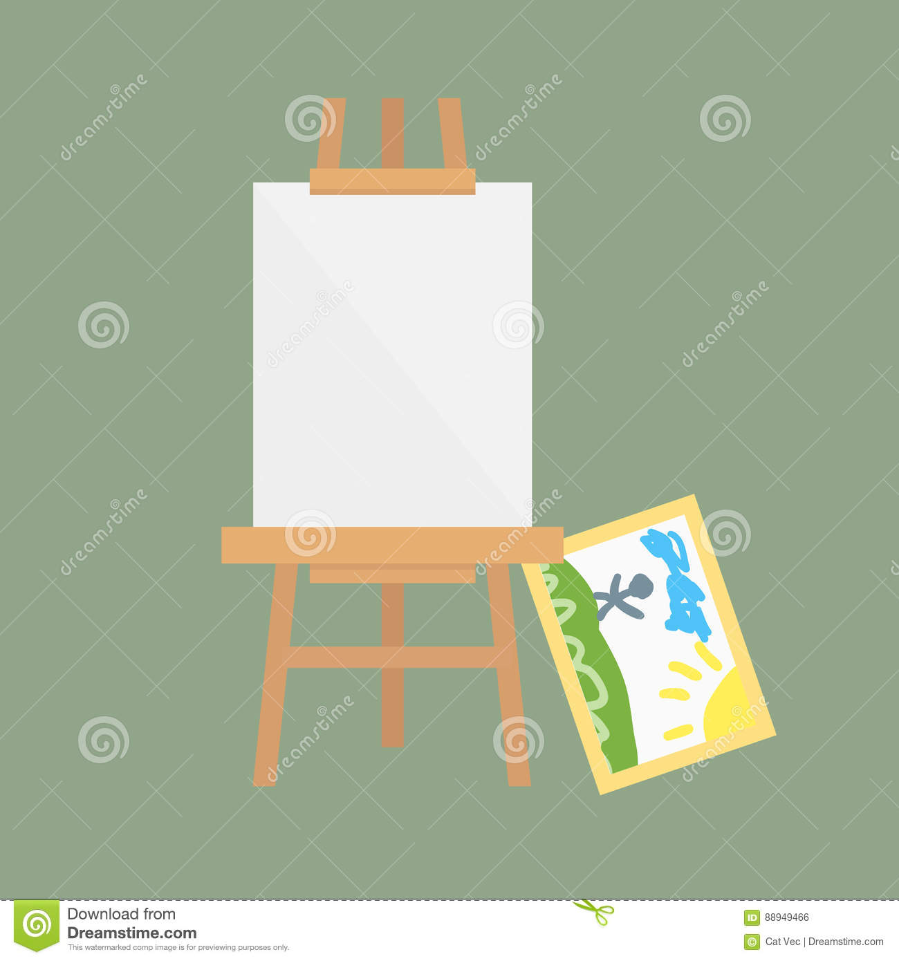 Easel art board vector isolated for some artist with paint palette paper canvas artboard and themed kids creativity