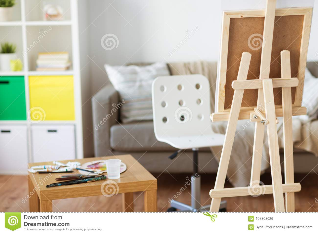 Easel And Artistic Tools At Home Or Art Studio Stock Photo - Image ...