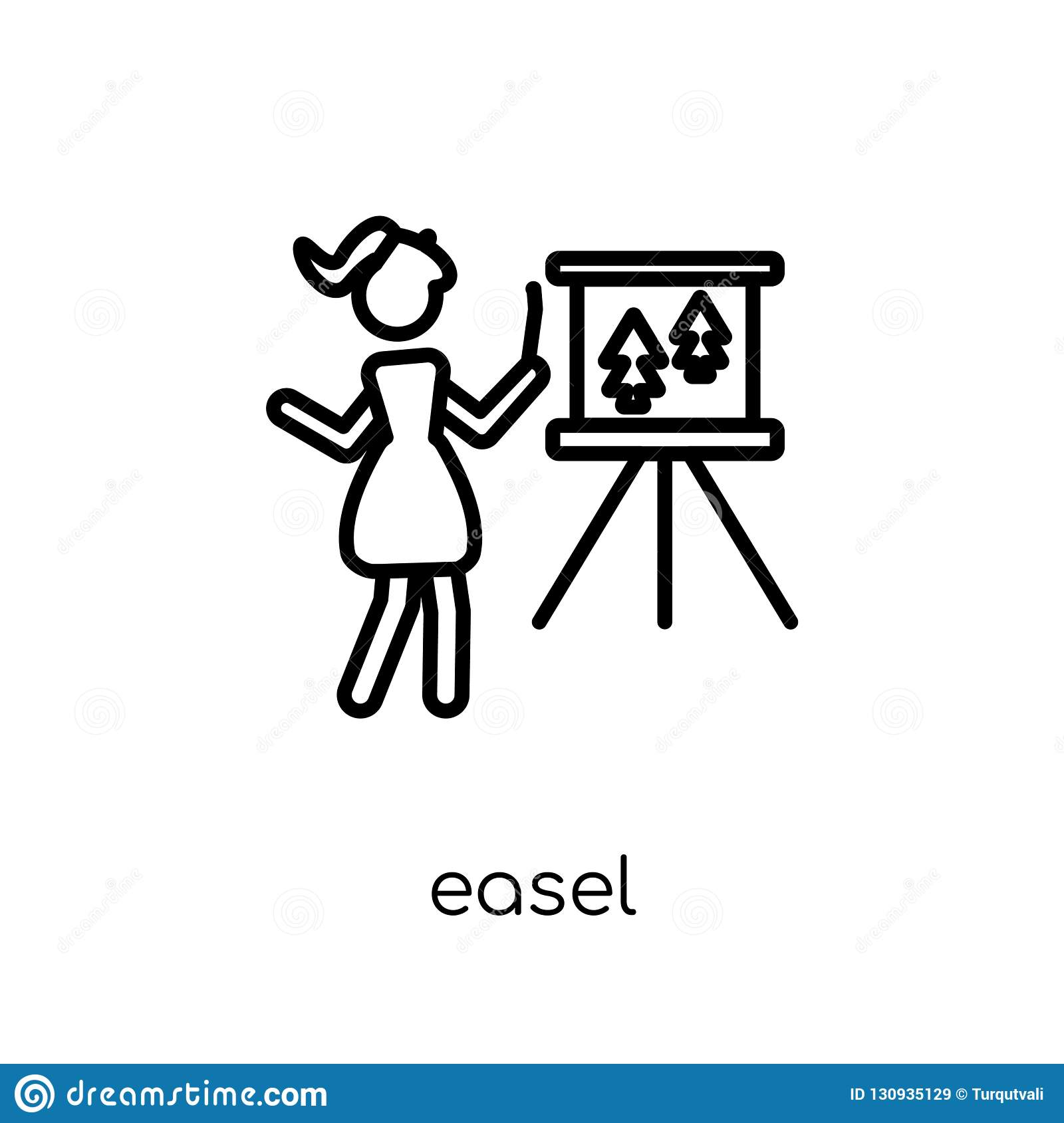 Easel icon. Trendy modern flat linear vector Easel icon on white
