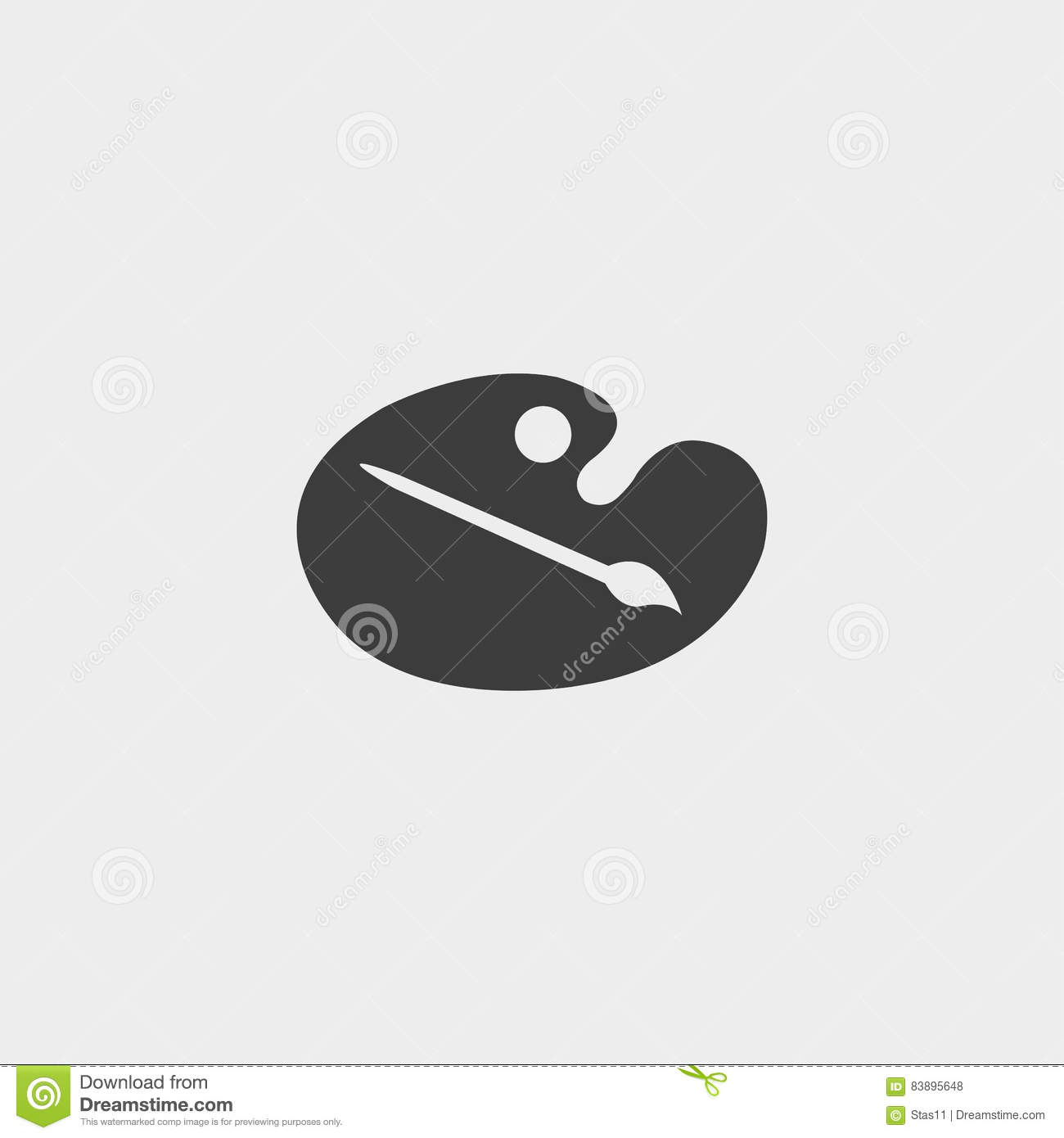 Easel and paintbrush icon in a flat design in black color. Vector illustration eps10