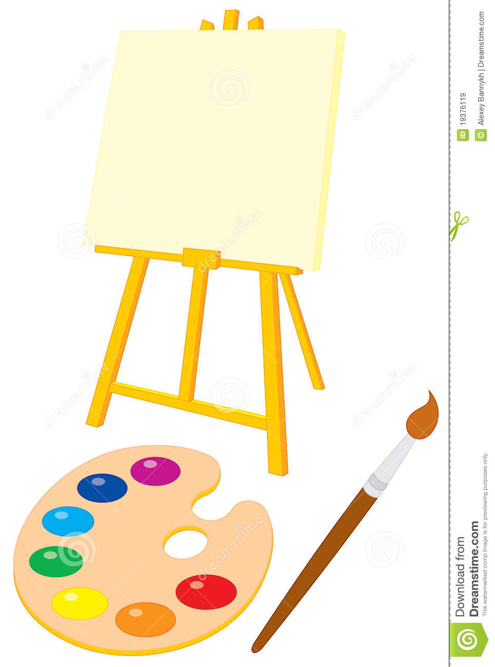 Easel Palette And Brush Stock Vector Illustration Of Drawing
