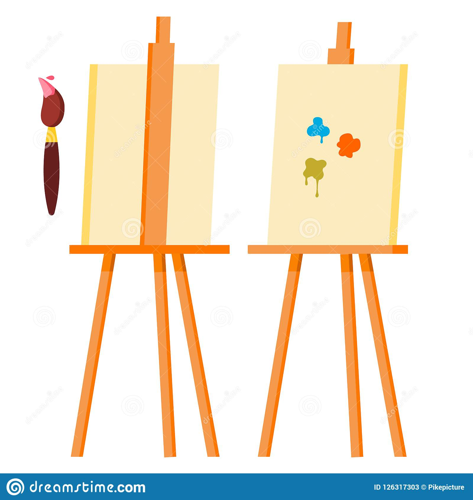 Easel Vector. Painting Art Icon Symbol. Brush. Canvas For Sketch. Isolated Cartoon Illustration