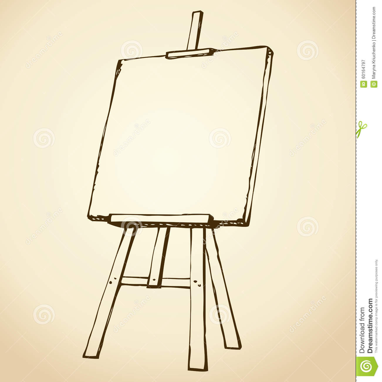 Drawing Lines In Jcanvas : Easel vector sketch stock image of chalkboard