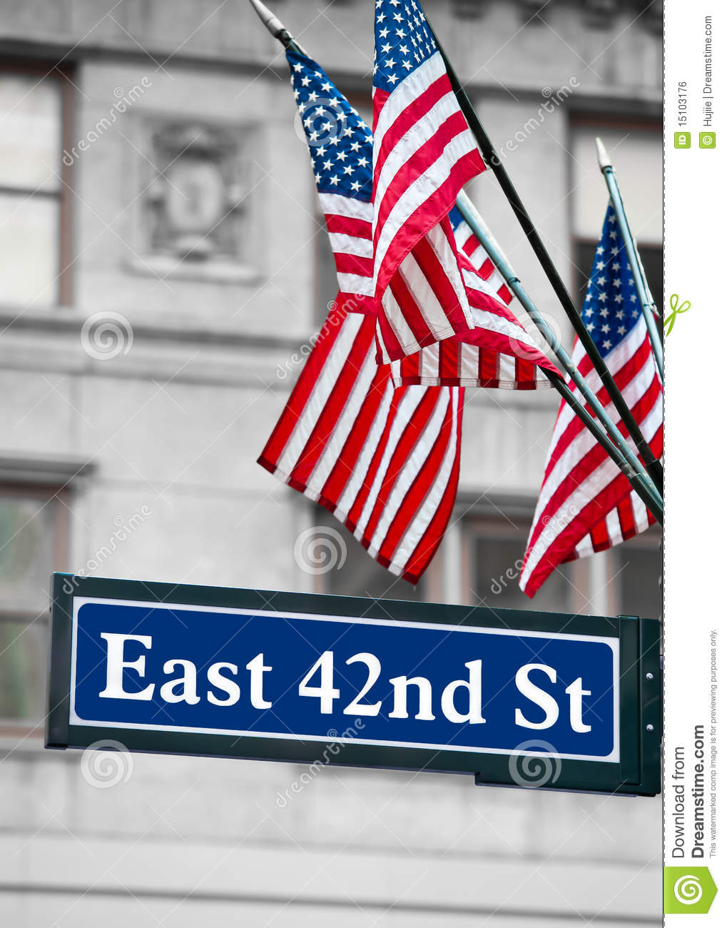 East 42nd Street Signs And US Flag Stock Photo - Image ...