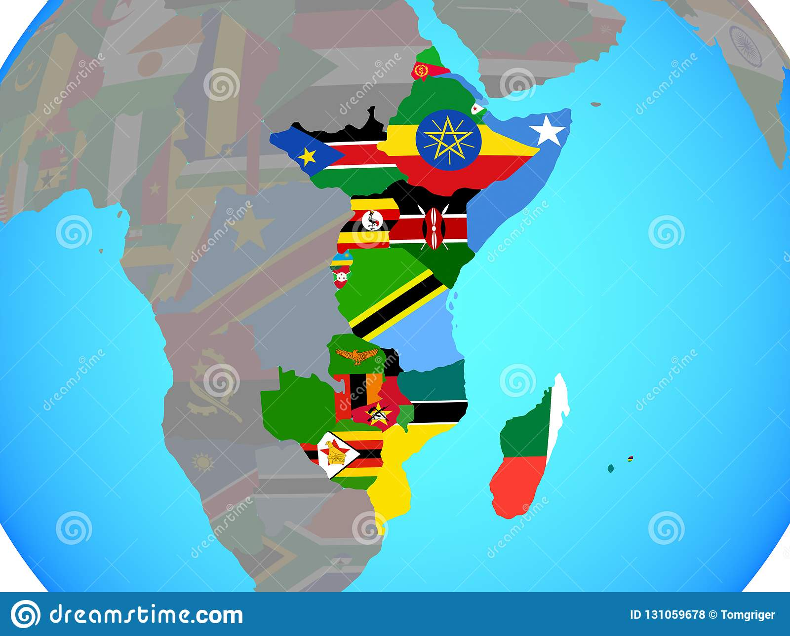 East Africa With Flags On Map Stock Illustration Illustration Of