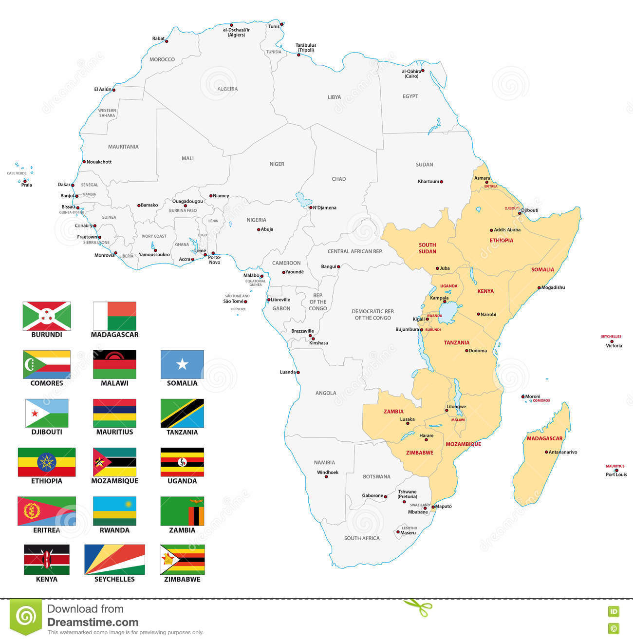 east africa map with flags. east africa map with flags stock vector illustration of africa