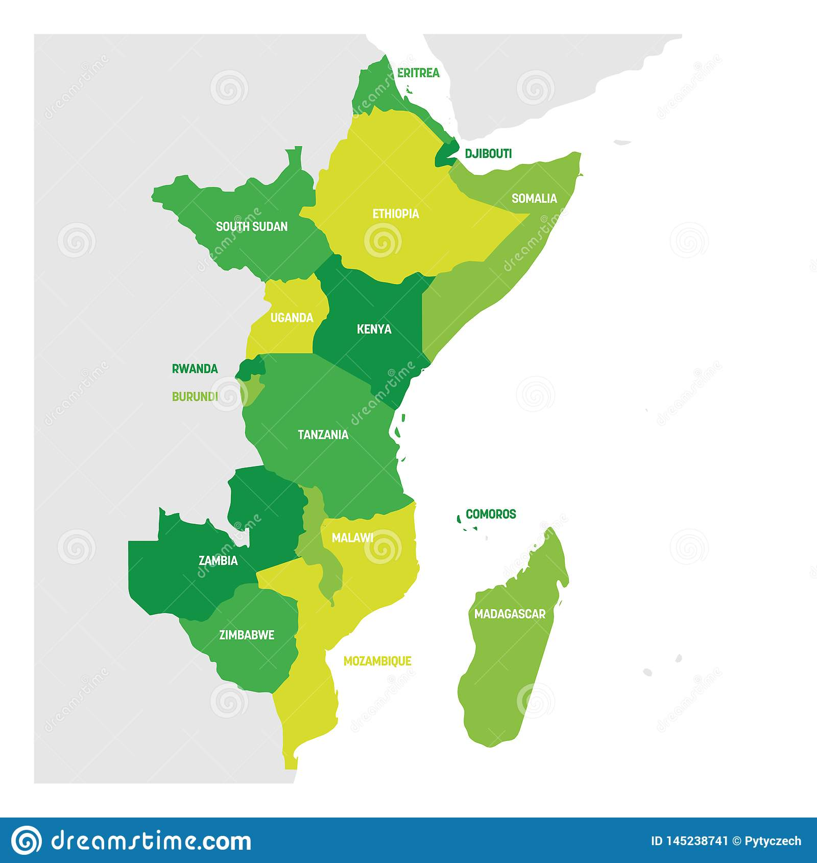 Map Of Eastern African Countries.East Africa Region Map Of Countries In Eastern Africa
