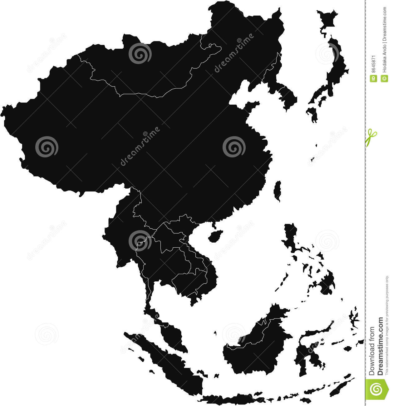 East Asia map stock vector. Illustration of cambodia, pakistan