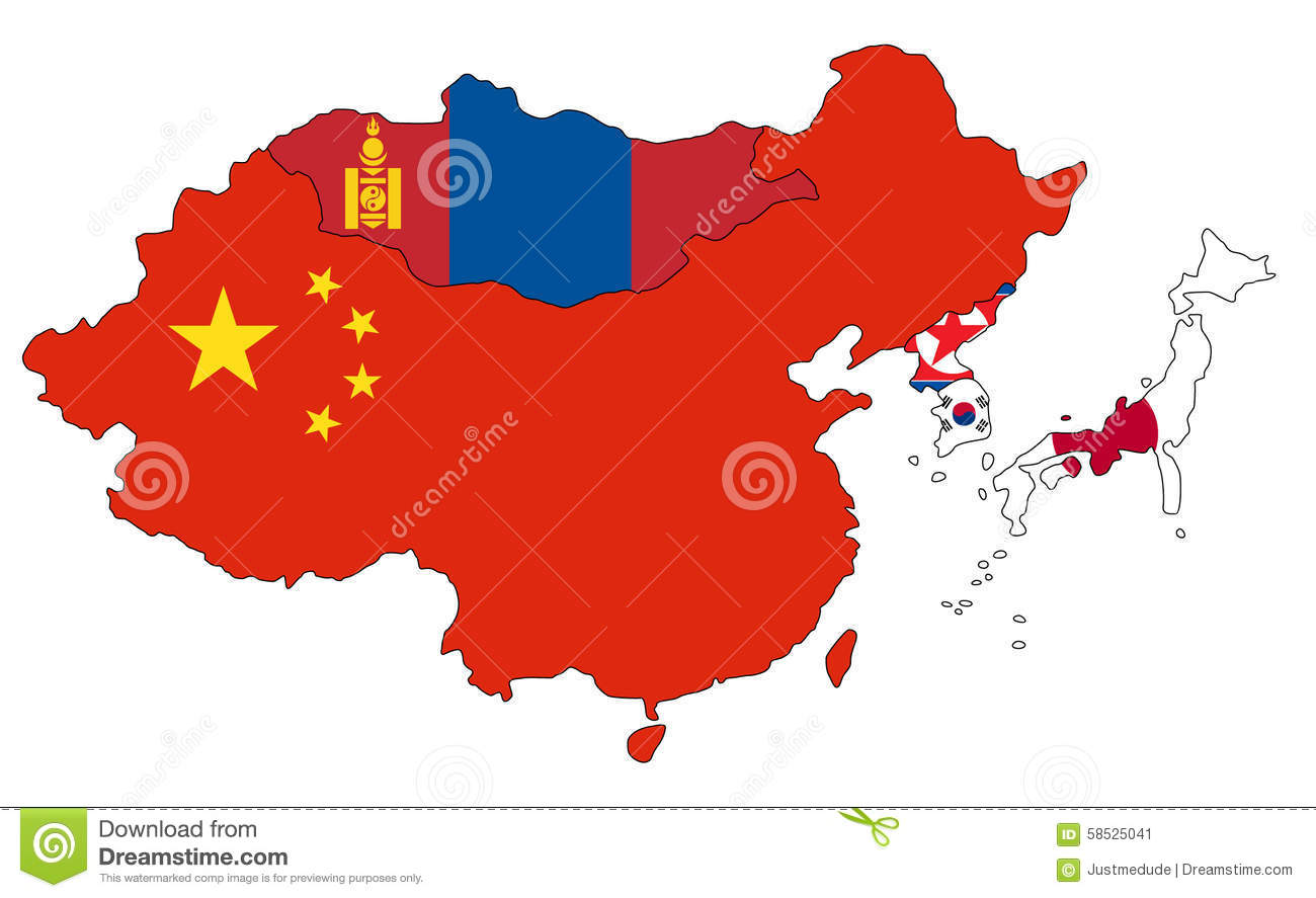 east asia map stock image