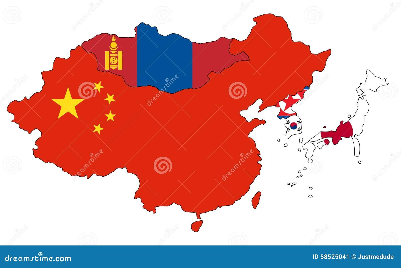 East Asia Map stock illustration. Illustration of national - 58525041