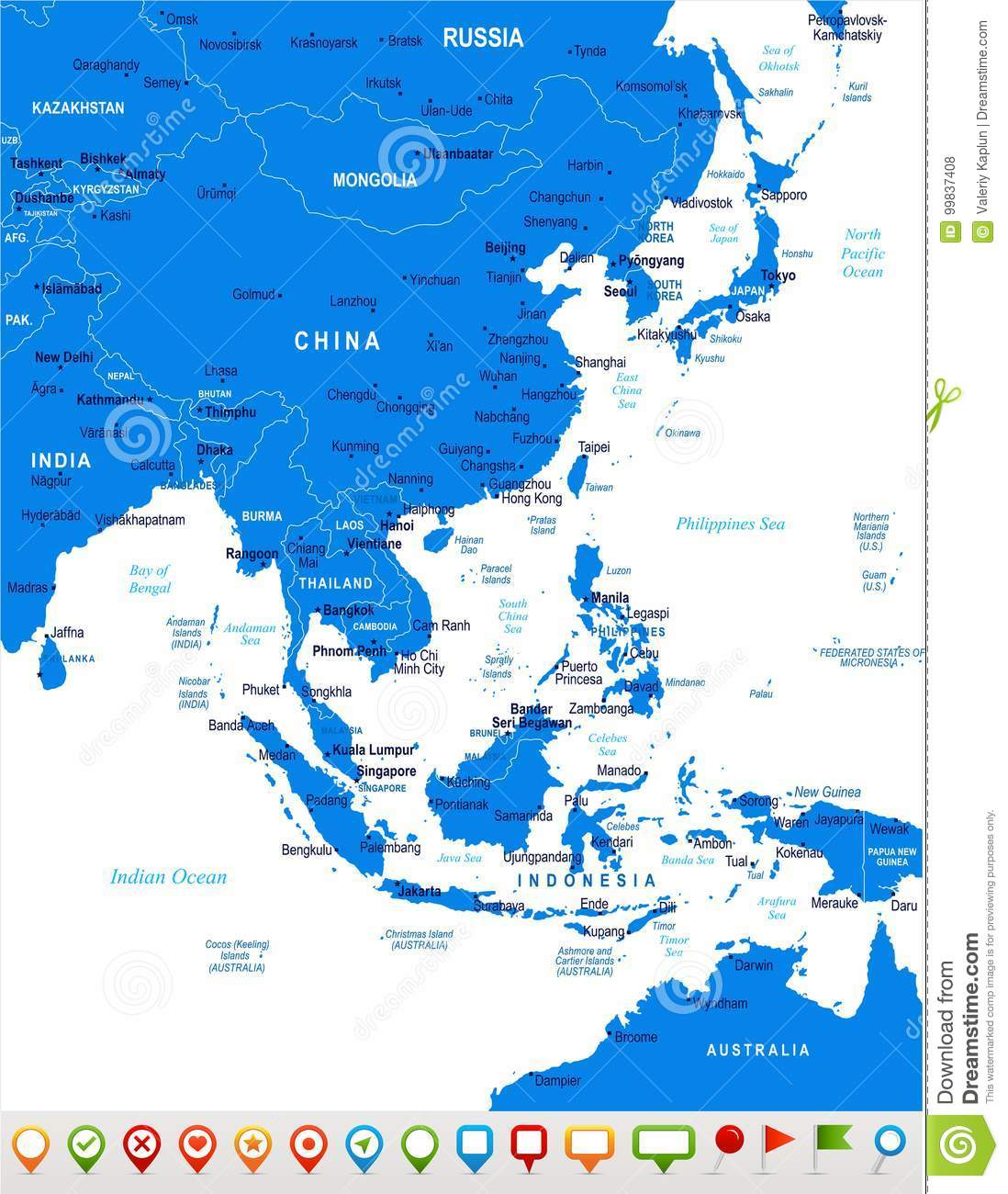 Label The Map Of Asia.East Asia Map Vector Illustration Stock Illustration