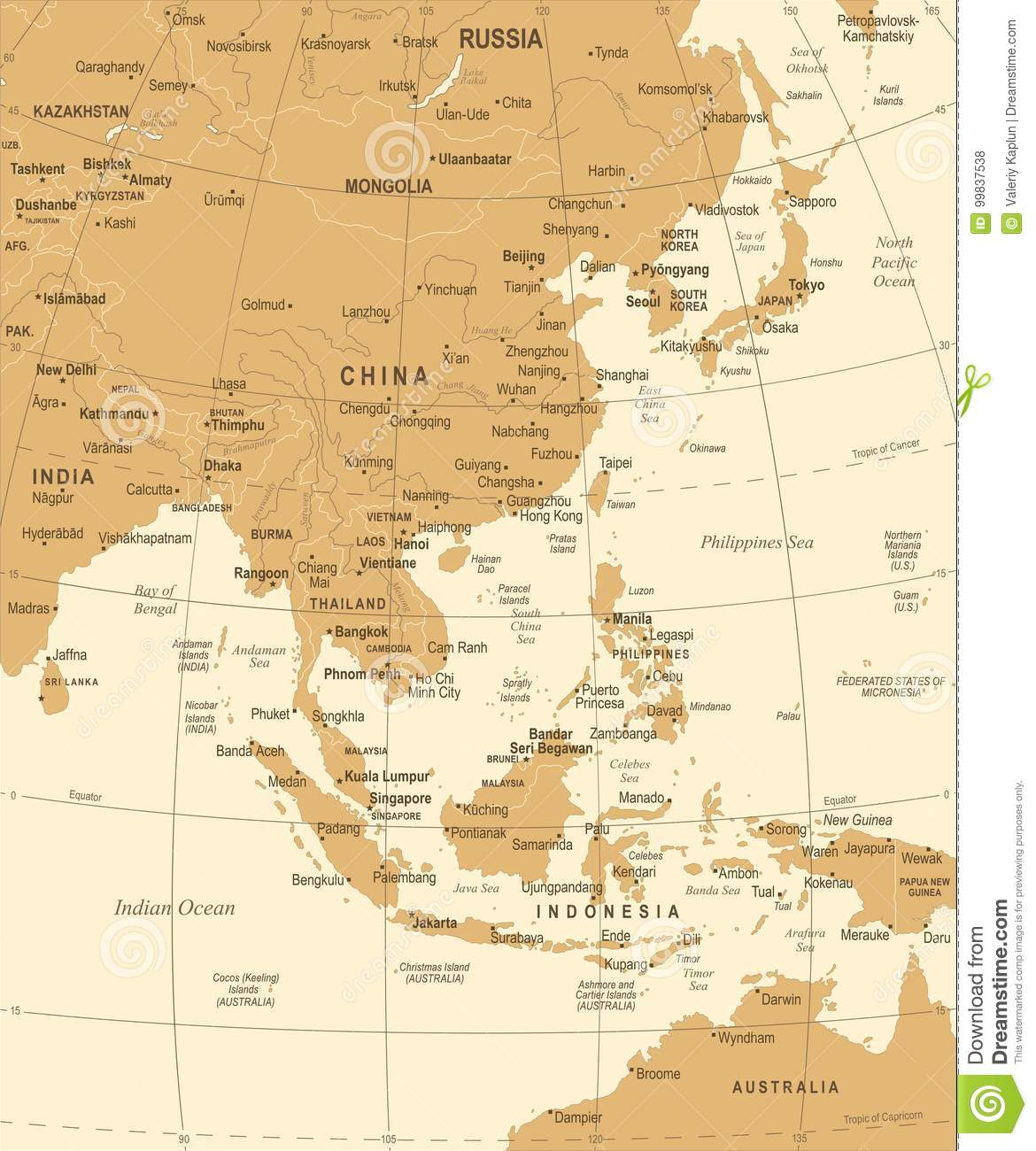 Image of: East Asia Map Vintage Vector Illustration Stock Illustration Illustration Of Australia Cities 99837538