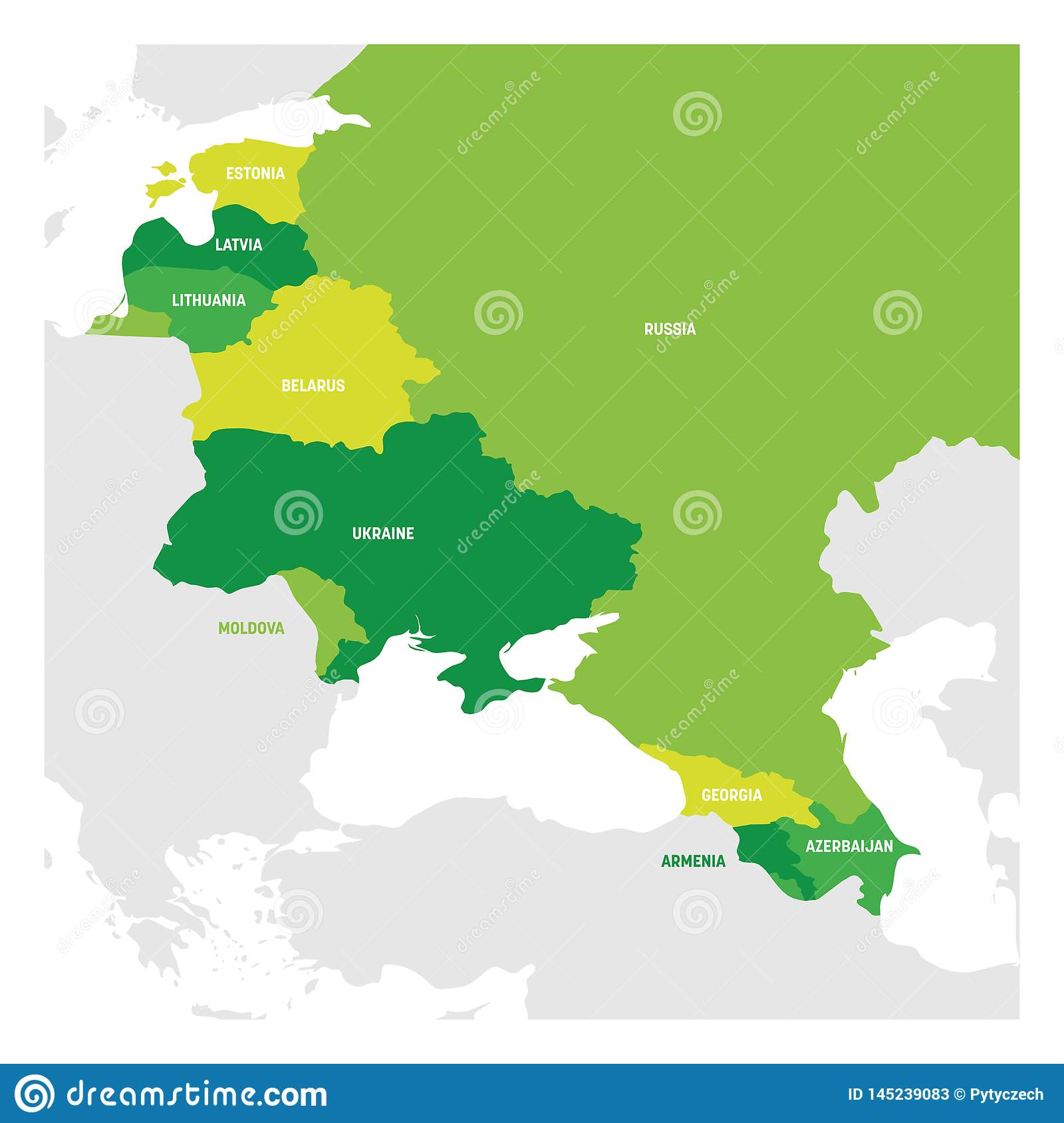 East Europe Region. Map Of Countries In Eastern Europe. Post ...
