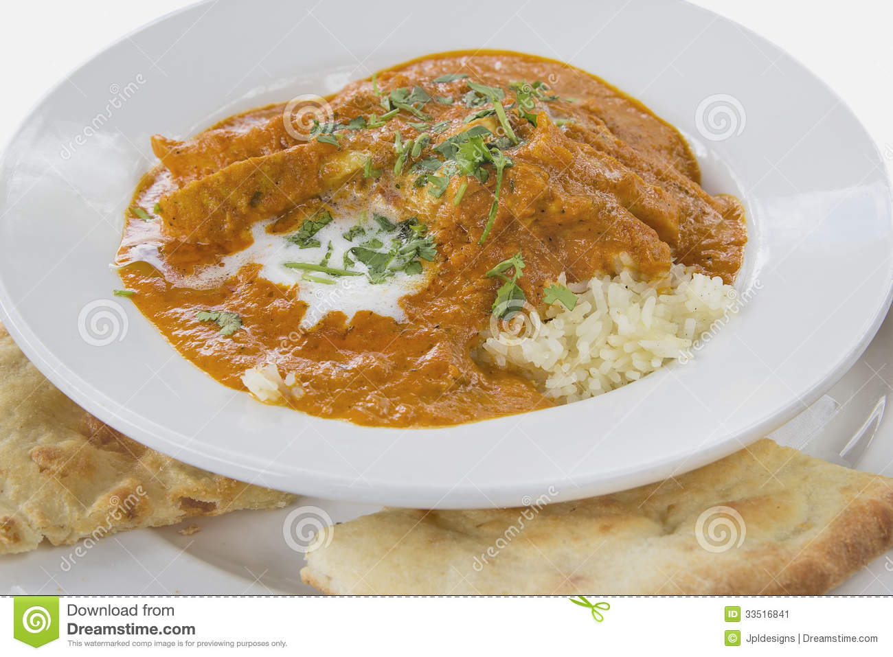 East Indian Butter Chicken Curry Over Basmati Rice with Naan Bread.