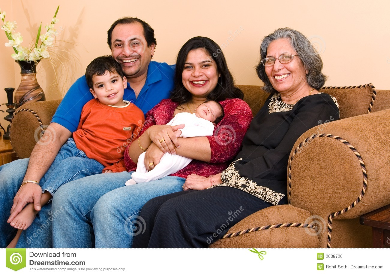 East Indian Family At Home Royalty Free Stock Image