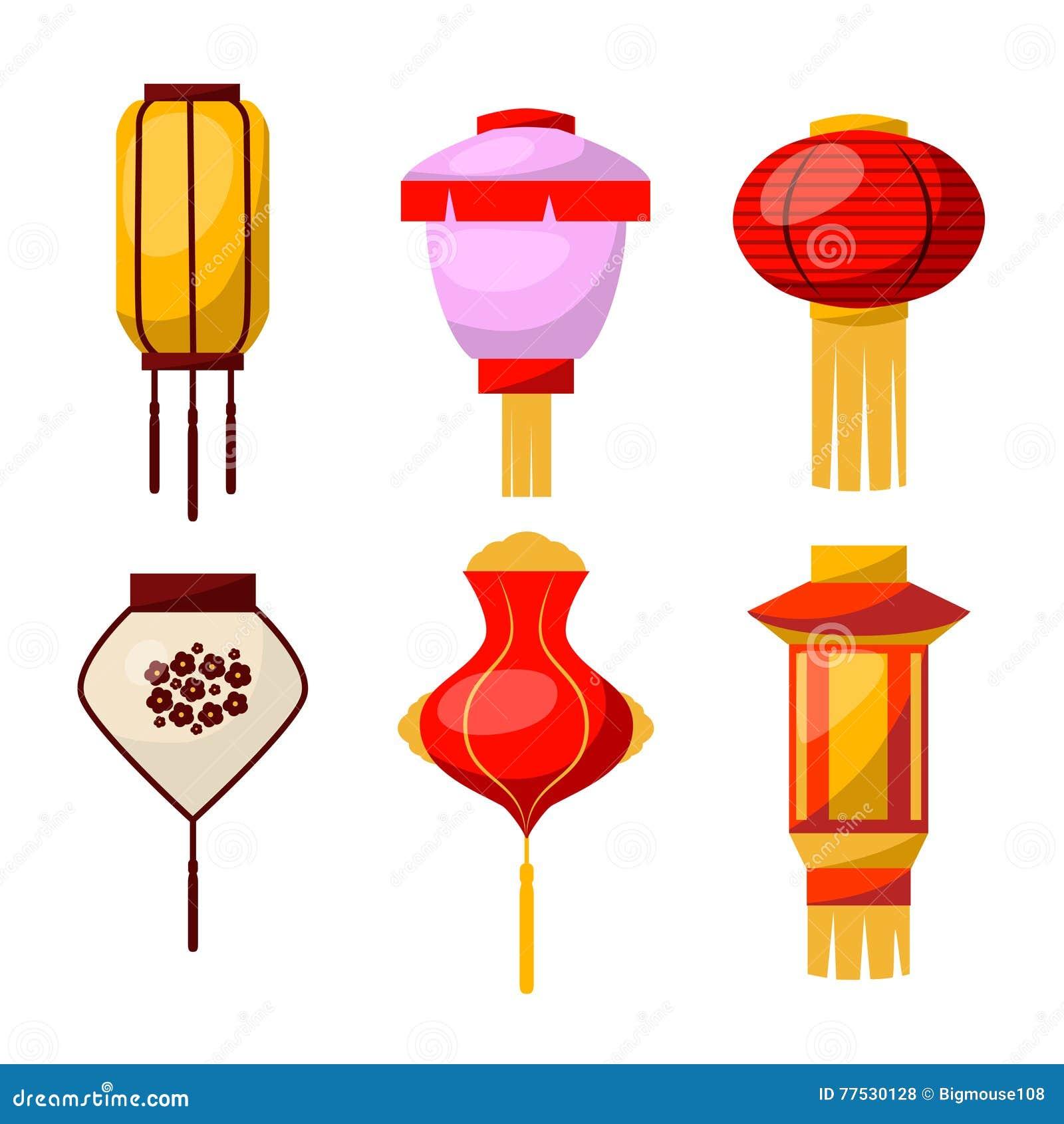 East Paper Street Or House Lantern Set. Vector Stock ...