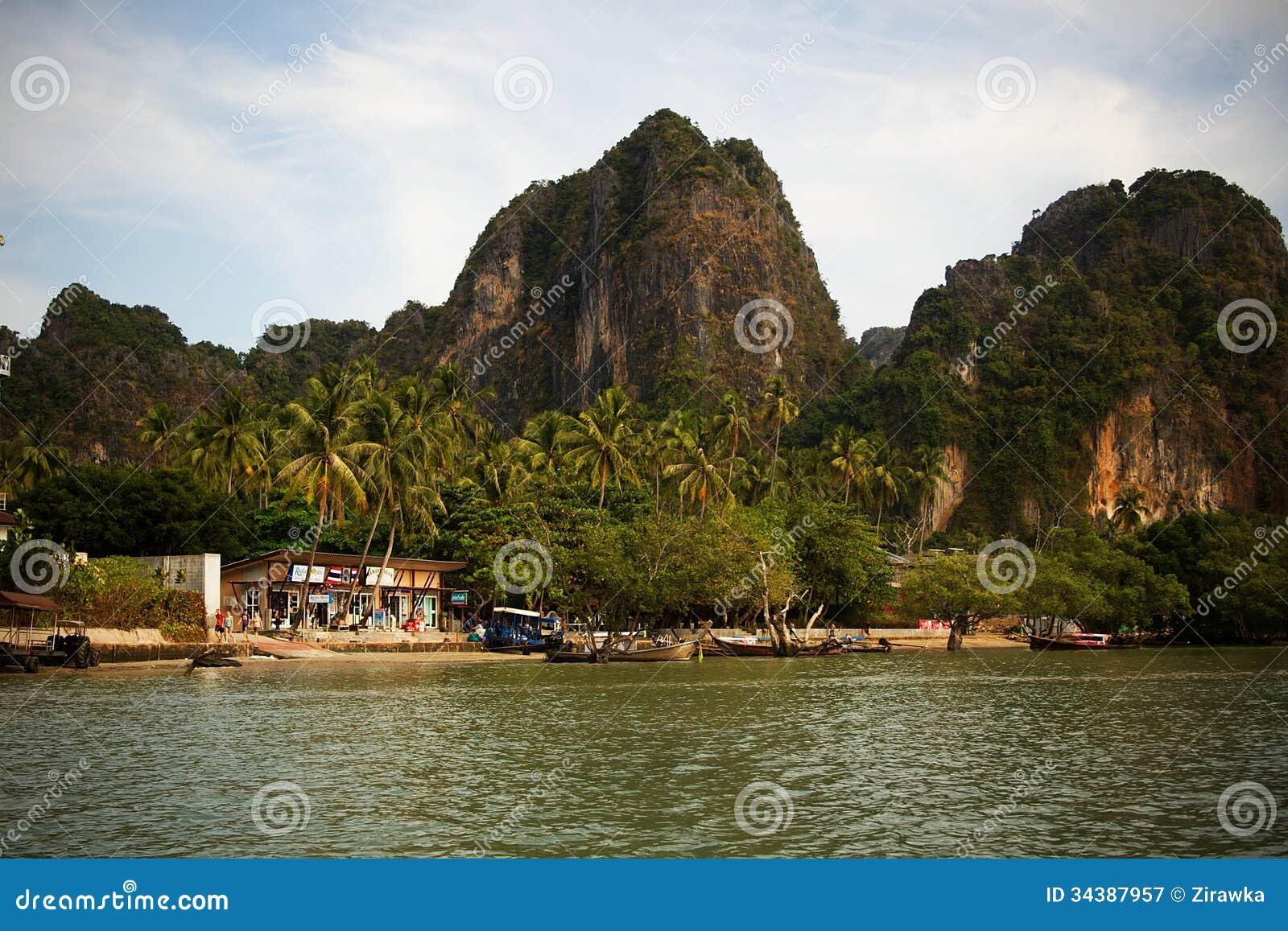 East railay beach on thai coast stock image image 34387957 for Small east coast beach towns