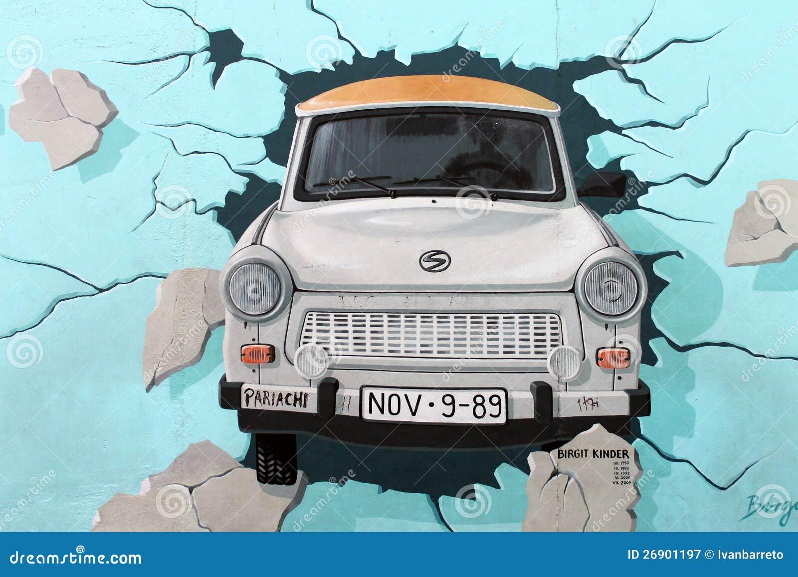 East Side Gallery Berlin Wall Trabant Car Editorial