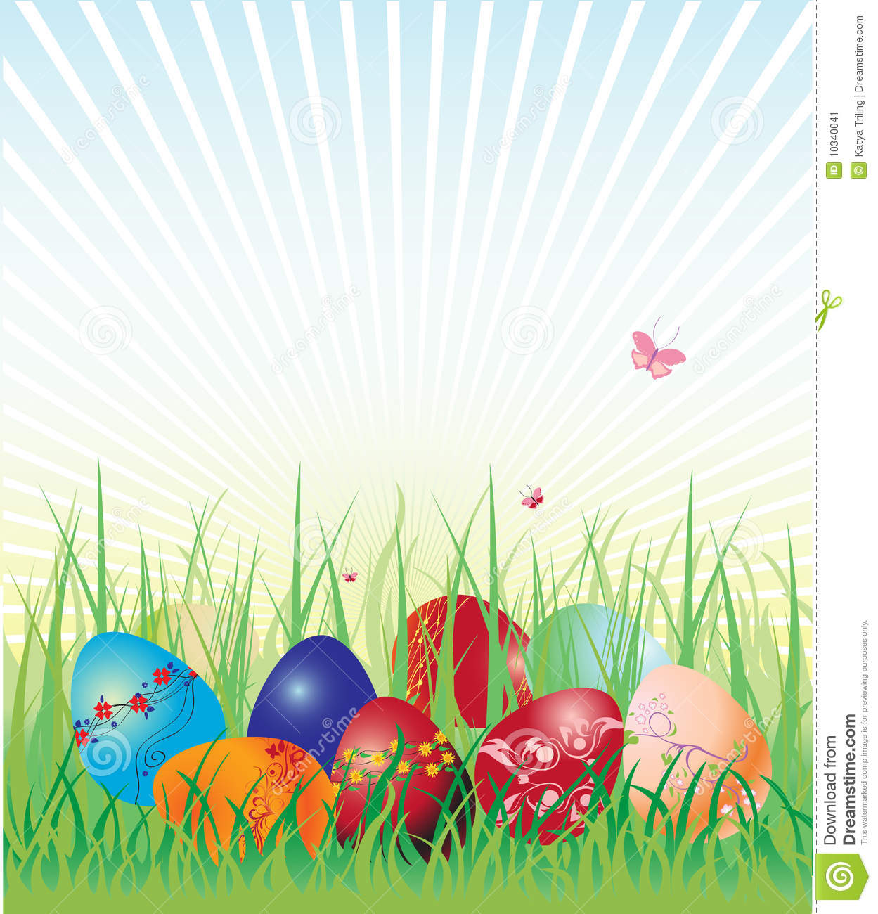 Vector illustration of Easter eggs on the beautiful green grass ...