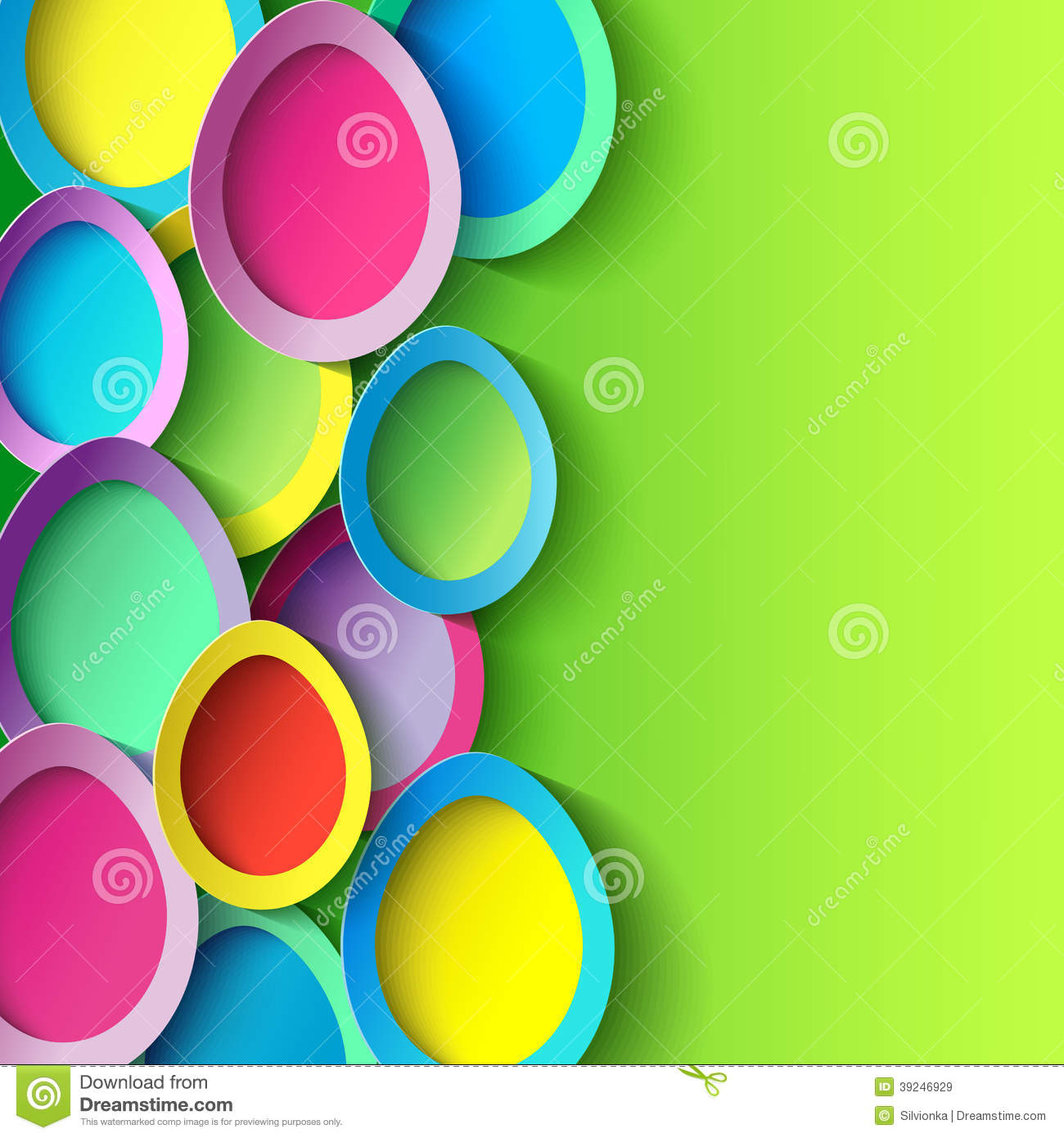 Easter Background With Colorful 3d Easter Egg Stock Vector