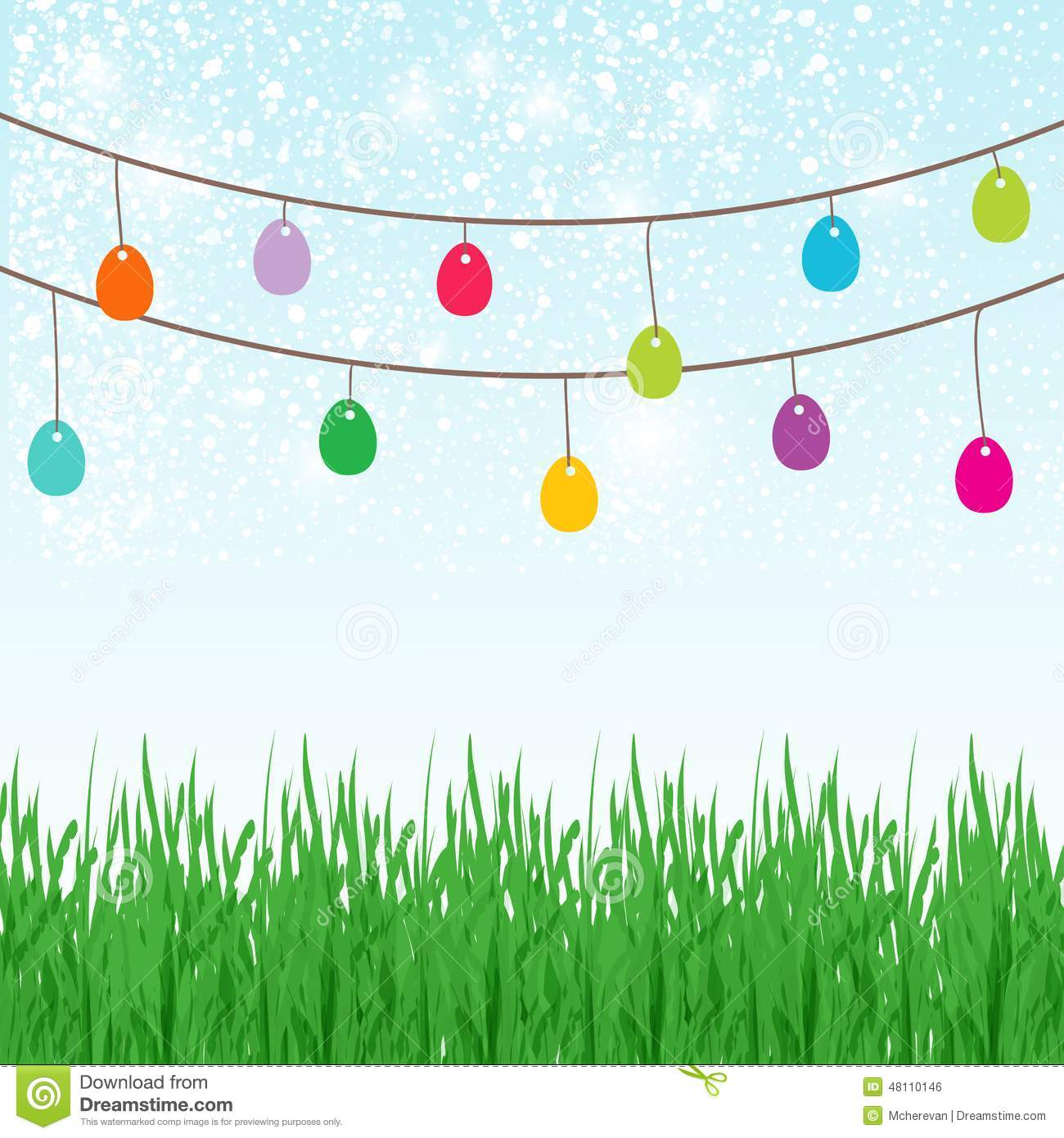 easter background with copyspace in the sky featuring a cute easter bunny and lots of painted