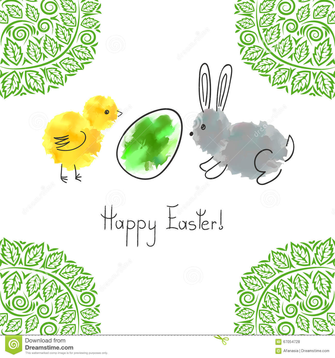 Cute Easter Bunny Chicken And Egg Vector Vector