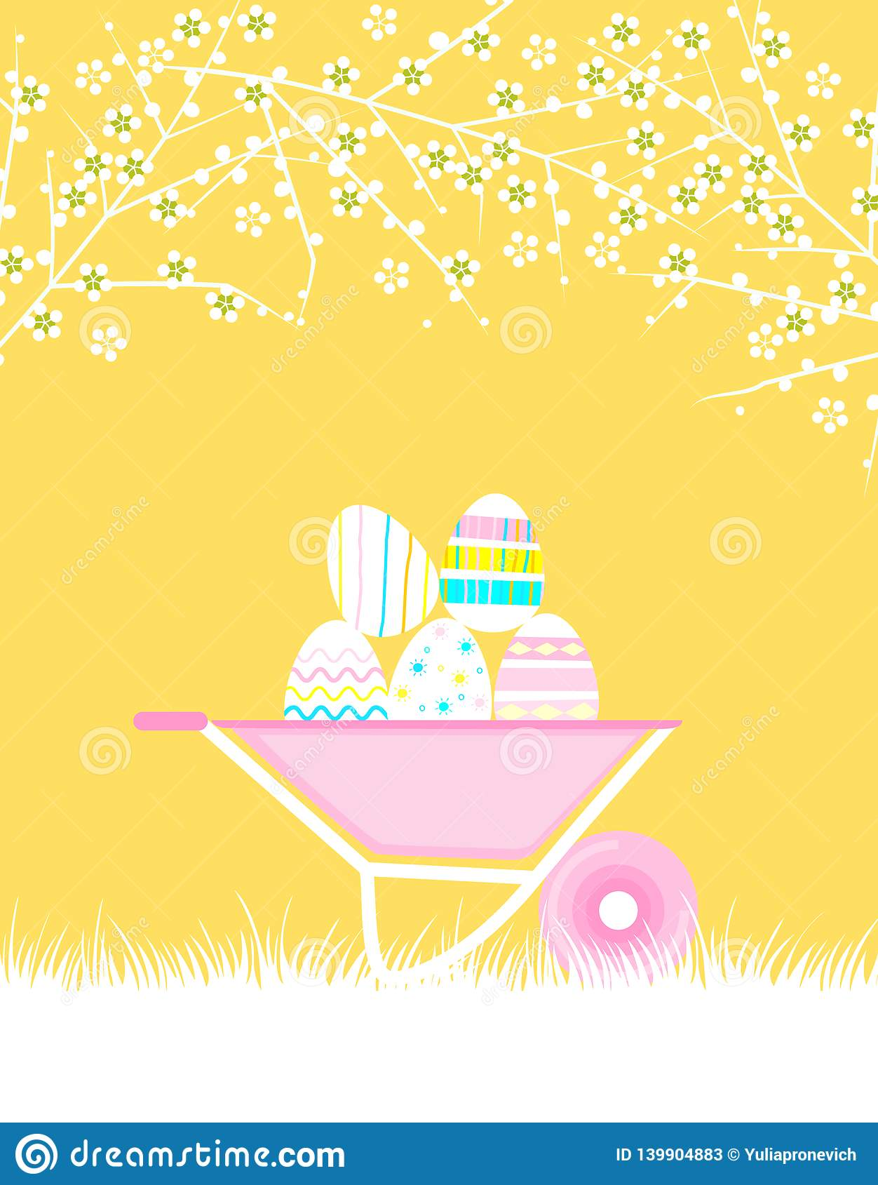 Seamless pattern with Easter background. Easter eggs. Festive set. Vector.
