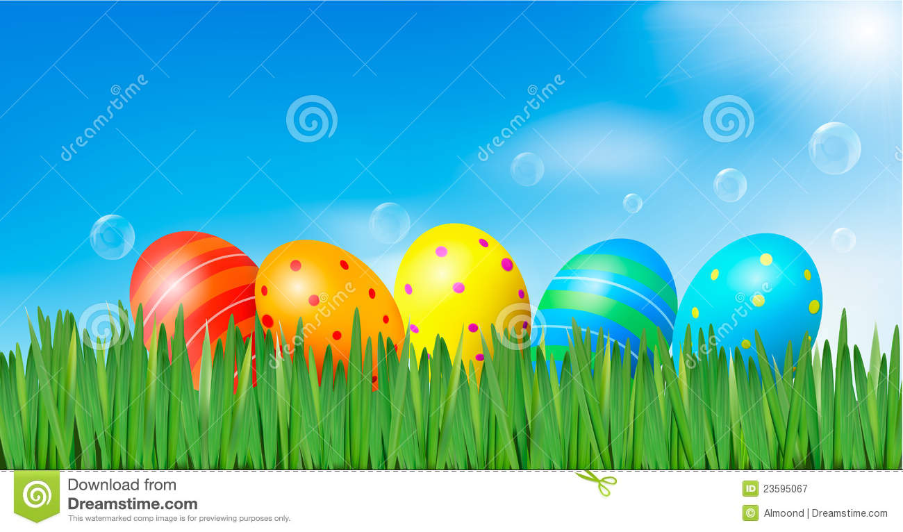 Easter Background Easter Eggs Laying In Grass Stock Vector