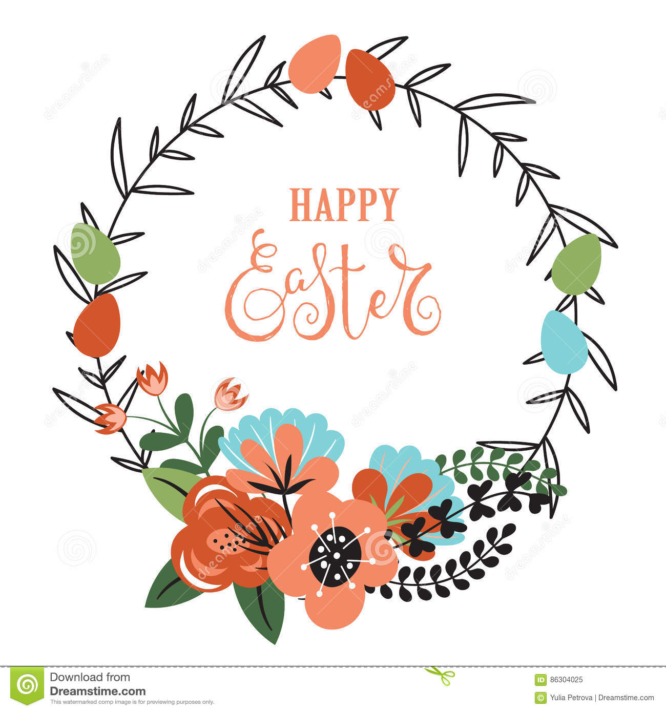 Easter background with flowers and eggs.